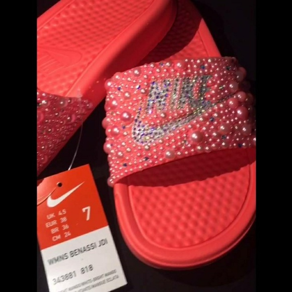 2f7f7b4419e Bedazzled Nike slides